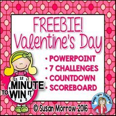 Free Minute to Win It Valentines Game Show - This FREEBIE is a great way to have some fun on Valentine's Day! Use it for your classroom party. You can set it up with minimal supplies. Your students will do seven challenges. Click through to see how you could make this work in your Kindergarten, 1st, 2nd, 3rd, 4th, 5th, or 6th grade classroom during your February Valentine's Day party! freebie
