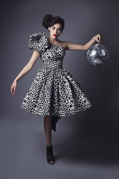 Image of Bubble Dress - Black and White