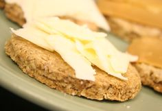 scottish oat cakes: 1 ½ cup of Scottish Oats (or sub any whole grain oats)  ½ cup of oat flour, spelt flour or whole wheat flour  1/4 cup fresh buttermilk, kefir or yogurt (homemade is preferable)  ¼ cup hot water  ¼ tsp of salt  ¼ tsp aluminum free baking soda or powder  ¼ cup melted butter