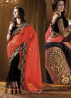 Latest Black And Orange Georgette Saree