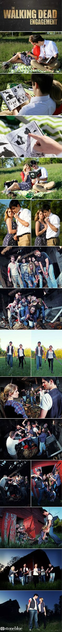 """""""The Walking Dead"""" fans had a zombie themed engagement shoot with their friends. Haha, so funny 
