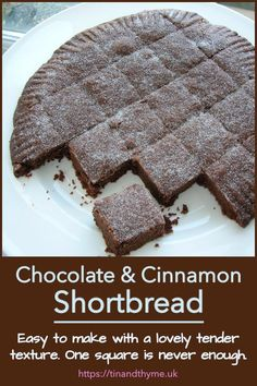 Easy to make with a lovely tender texture, this shortbread is familiar but with a cocoa hit and sweet spicy notes from the cinnamon. Cut it into squares or whatever shape you like for afternoon tea or a snack at any time of day. One piece is never enough though. #TinandThyme #ChocolateShortbread #CinnamonShortbread #CinnamonBiscuits #ShortbreadRecipe Chocolate Week, Cocoa Chocolate, Tasty Chocolate Cake, Homemade Chocolate, Chocolate Recipes, Cinnamon Biscuits, Shortbread Recipes, Savoury Baking, Sweet And Spicy