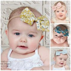 """We are so excited to introduce our new skinny nylon headbands!These headbands a so soft and stretchy! One size fits premies to adults and they will not leave any marks on your babies head. Elegant and timeless! This delicate and sophisticated headband is embellishedwitha beautiful 4"""" bow Nylonband. You could pretty much say that this headband is as sweet as sugar!  Sizes Available: One size fits all Available in 28 differentStyles"""