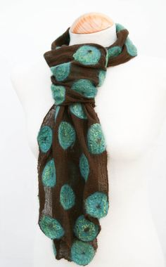 Hand Dyed Nuno Felt Scarf on Cotton Jade and Lime by FeltSoLovely, £36.00