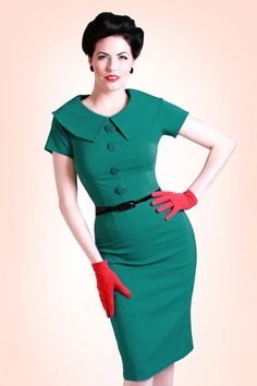 Tatyana - 50s Jade Turquoise wiggle pencil dress retro