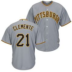 b0fa5174f4d Get this Pittsburgh Pirates Roberto Clemente Road Cool Base Replica Jersey  at ThePittsburghFan.com