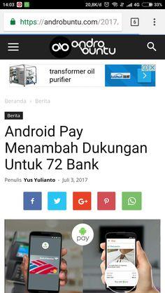 Android pay sekarang biar digunakan di lebih dari 70 bank dunia. Baca selengkapnya di androbuntu.com.