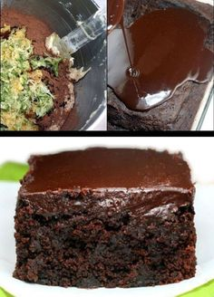 The moistest, fudgiest triple chocolate, Greek yogurt, zucchini cake you will ever have! The chocolate ganache seeps into the cracks, making it even fudgier. #recipe