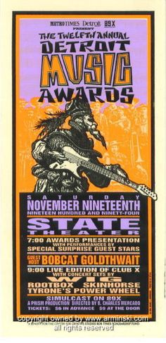 1994 Detroit Music Awards Concert Handbill by Arminski (MA-011)