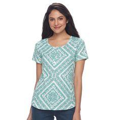 Women's Croft & Barrow® Henley Tee, Size: Medium, Brt Green