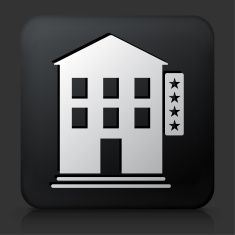 Black Square Button with Five Star Hotel vector art illustration