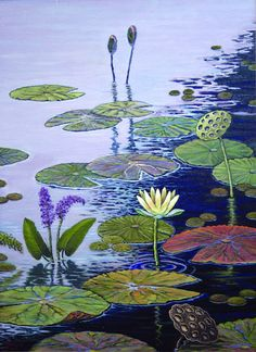 Water Garden with Lotus Small Kit by Jim Stratton Pond Painting, Landscape Art Quilts, Patchwork, Quilting Designs, Art Quilting, Quilt Art, Water Garden, Collage, Bunt