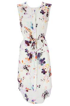 White Floral Print Shirt Dress (adorbs)