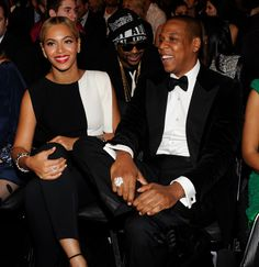 Beyonce and Jay-Z, dressed in B, are all smiles during 2013 Grammys at #StaplesCenter on Feb 10, 2013  http://celebhotspots.com/hotspot/?hotspotid=6465&next=1