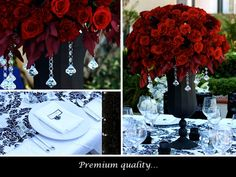 wedding flowers  www.myfloweraffair.com  red roses, elegant red wedding flowers, red dahlias, red carnations, crystals, black vases, black and white damask wedding linens