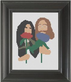 """John and Yoko"" - From CrassCross.  The cross stitch pattern to make this piece is available for just $5.    http://crasscross.com/collections/celebrity-patterns/products/john-and-yoko-cross-stitch-pattern-chart"