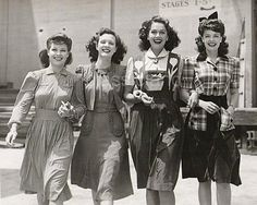 1940s Women. Beautiful hair and fashion.By: Dollface & Dapper Vintage Clothes on eBay and Etsy