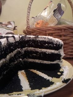 black cake with white frosting