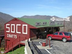 10 best places to buy souvenirs (well four of them in the southeast)  Located in Maggie Valley, N.C., near Smoky Mountains National Park, Soco Crafts and Tower features the state's largest observation tower and a shop selling old-time souvenirs (and the most potographed view in the Smokies)  http://www.sococrafts.com/