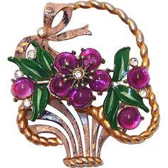 Huge Enamel and Purple Cabochon Flower Basket Brooch..Coro, 1930's..