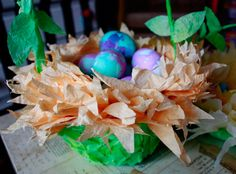 Coffee Filter Easter Baskets in Bloom