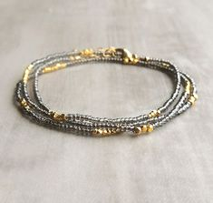 Gray Seed Bead Necklace/Bracelet with Gold Vermeil by FlowDesigns