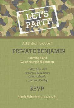 Army Party Kids Birthday Invitation