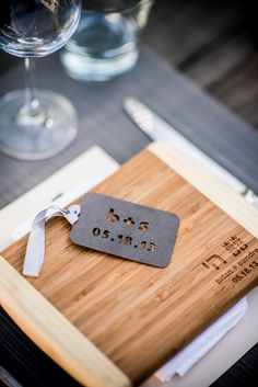 monogrammed cutting board favors | Handmade, Heritage Blending Garden Wedding in California | Images by Viera Photographics