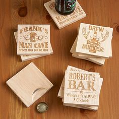 """Good-looking wood coaster has a convenient built-in metal bottle opener on the bottom. Choose from """"Man Cave"""" (we add any name, up to 9 characters), """"Beer Hunter"""" (any name, up to 9 characters), or """"Always 5 O'Clock"""" (any name, up to 12 characters) design. An ('s) will always appear on """"Man Cave"""" and """"Always 5 O'Clock"""" designs. Set of 4. Measures 3-1/2""""L x 3-1/2""""W. Wipe clean."""