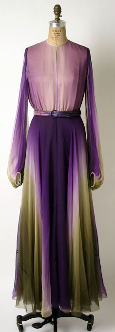 Love the color combination. This looks like it walked out of a watercolor painting. James Galanos, 1972