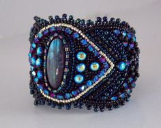 Check out Free Shipping,Summer nights , Bead Embroidery Bracelet, Statement, Beadwork, Seed bead bracelet,Labradorite, Black, Blue, Gold on vicus