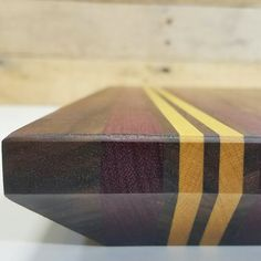 Wood Cutting Board Walnut Yellow Heart and Purple by MWAWoodworks