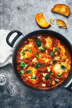 one pot spicy eggs and potatoes with goat cheese | pinch of yum