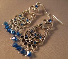 Blue Swarovski Crystal Chandelier Earrings  by jewelsatlanta, $21.50