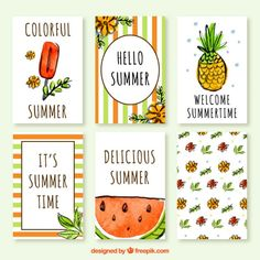 Collection of summer card in watercolor effect Free Vector Small Canvas Art, Mini Canvas Art, Diy Canvas, Summer Painting, Easy Canvas Painting, Art Mini Toile, Bullet Journal School, Card Drawing, Diy Notebook