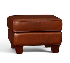 Irving Leather Storage Ottoman, Polyester Wrapped Cushions, Leather Signature Berry Red