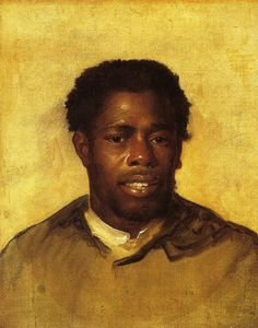 Head of a Negro - John Singleton Copley  Interestingly, I think this portrait is far more becoming than most of this artist's work. Maybe he painted the white aristocrats in a more stylized manor and used more realism in this painting. Or maybe all the white people were just that ugly, I don't know. I wish we could know the name of this man in the painting.
