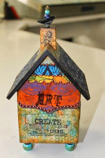 Charity Wings: Online Auction #12: Mary Jane Chadbourne Clay Houses, Ceramic Houses, Art Houses, Wooden Houses, Altered Boxes, Recycled House, Art Projects, Projects To Try, Toys