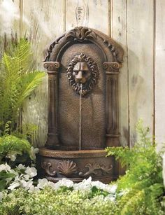 Garden Lion's Head Courtyard Water Fountain w Pump Patio & Deck Accent Nice New #HomeLocomotion