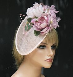 Pink Fascinator Saucer Hat Percher Derby Hat Hatinator