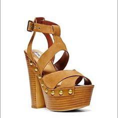 TODAY ONLY‼️🆕 Cognac Platform Sandals Super cute Suede Platform Sandals with studs on sides. Steve Madden Shoes Heels