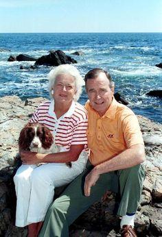 Barbara and George Bush. First Lady and U. President, with their dog Millie. Both had hyperthyroidism (Barbara had Graves' Disease, an Barbara Pierce Bush, Barbara Bush, American Presidents, American History, Hw Bush, George Hw, Barbara George, Bush Family, American First Ladies