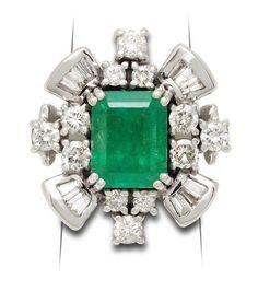 Glamorous Estate Collection Emerald & Diamond Ring  #emeraldring #cocktailring #emeraldanddiamond #emerald Emerald Diamond, Diamond Cuts, Cocktail Rings, Bracelet Watch, White Gold, Glamour, Jewels, Bracelets, Accessories