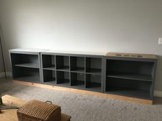 IKEA Hack Expedit into Long Storage Unit & DIY Farmhouse Table and Bench | Pinterest | Ikea hack Storage and ...