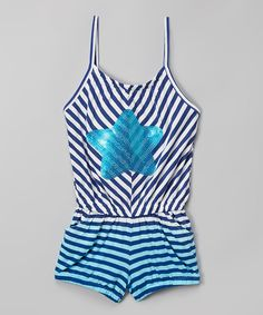This Navy & White Stripe Star Romper - Infant, Toddler & Girls by KidZone is perfect! #zulilyfinds