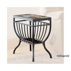 Signature Design Slate Tile Chair Side End Table Gunmetal Furniture Living Room #AshleyFurniture