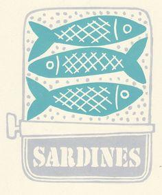 Tin of sardines lino print