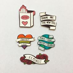 Enamel pin collection of feminist flair. Cute style. Intersectional feminism quotes.