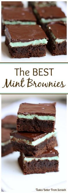 Thick, moist, fudge-y homemade brownies with the perfect mint and chocolate frosting! I'm addicted! On MyRecipeMagic.com