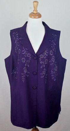 COLDWATER CREEK Purple Pants & Vest Set Floral Beaded Embroidered Sz 20 W EUC #ColdwaterCreek #VestPantSet